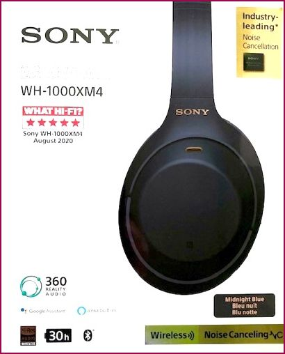 Sony WH-1000XM4 Wireless Noise-Cancelling Bluetooth Kopfhörer - Blau